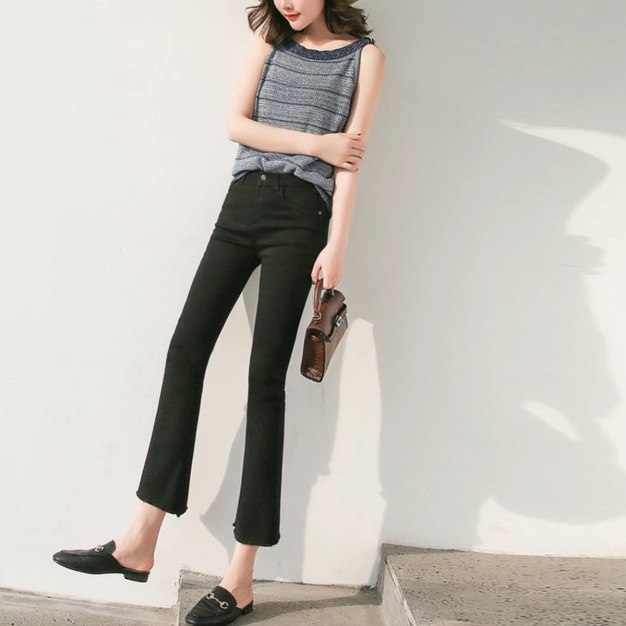 Black High Waist Washed Women's Jeans