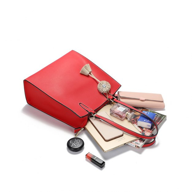 Red Plain Pvc Bucket Bag Big Women's Shoulder Bag