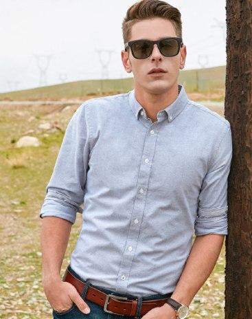 Gray Plain Square Neck Long Sleeve Standard Men's Shirt