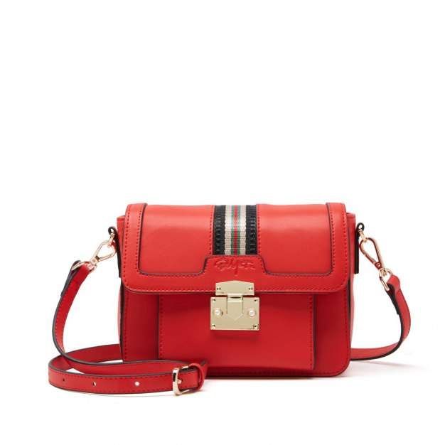 Red Stripes Cowhide Leather Small Women's Crossbody Bag