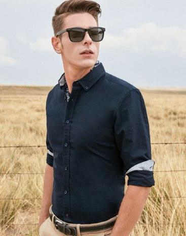 Indigo Plain Square Neck Long Sleeve Standard Men's Shirt