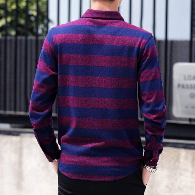 Red Stripes Lapel Long Sleeve Men's Shirt