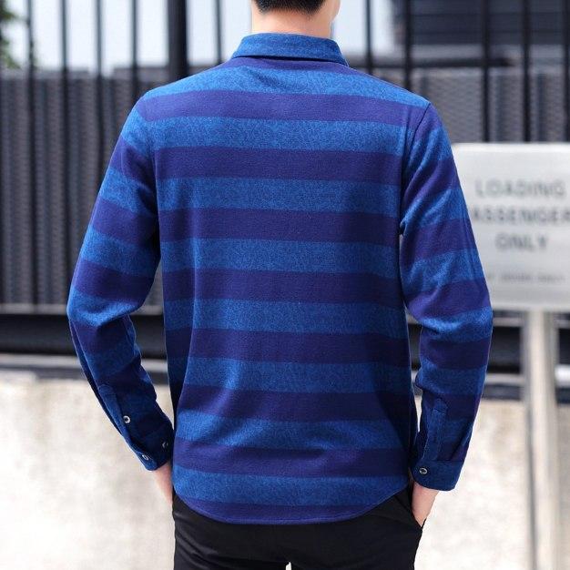 Blue Stripes Lapel Long Sleeve Men's Shirt