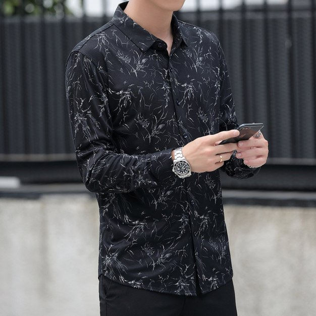 Black Lapel Long Sleeve Men's Shirt