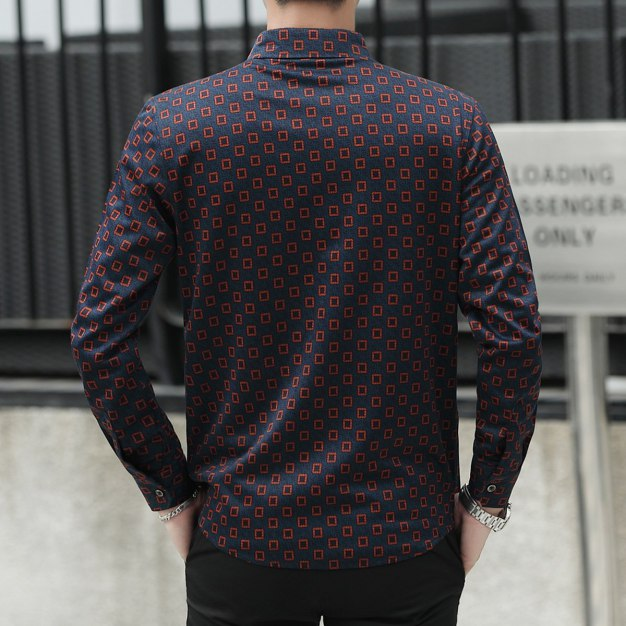 Red Lapel Long Sleeve Men's Shirt