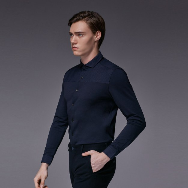 Blue Plain Square Neck Long Sleeve Fitted Men's Shirt