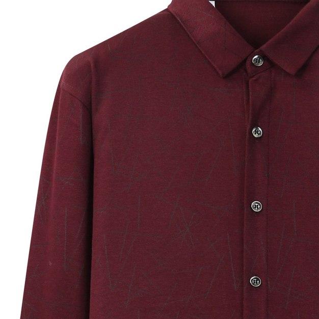 Red Lapel Long Sleeve Men's Shirt