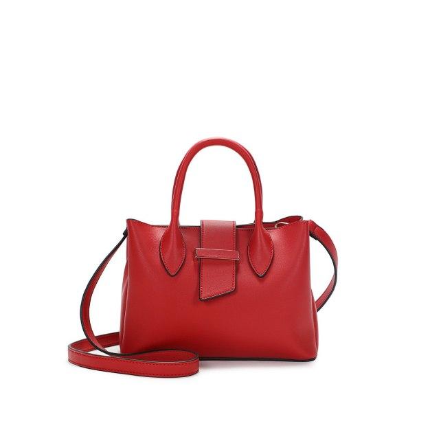 Red Plain Pvc Bucket Bag Big Women's Tote