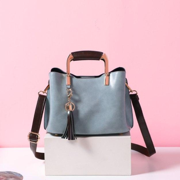 Blue Plain Pvc Bucket Bag Small Women's Tote