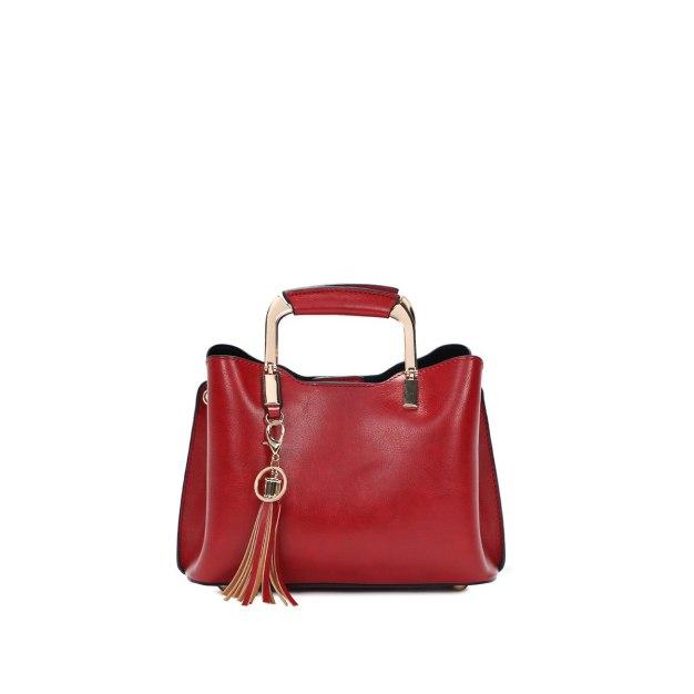 Red Plain Pvc Bucket Bag Small Women's Tote