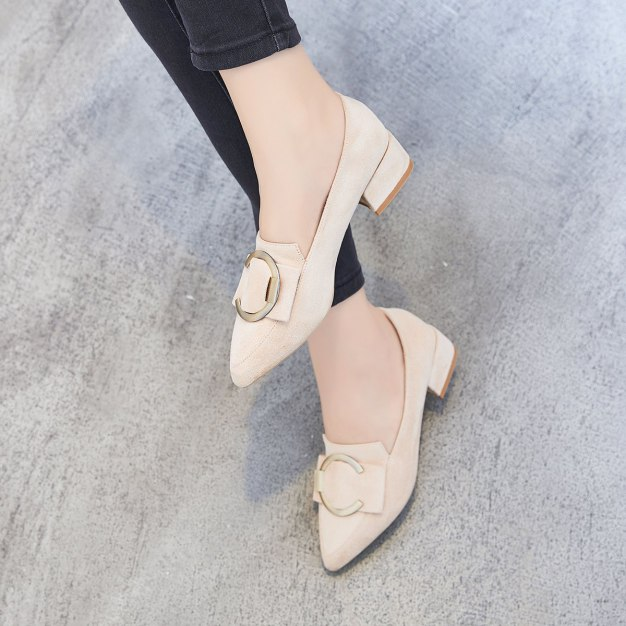 Apricot Pointed Middle Heel Women's Pumps