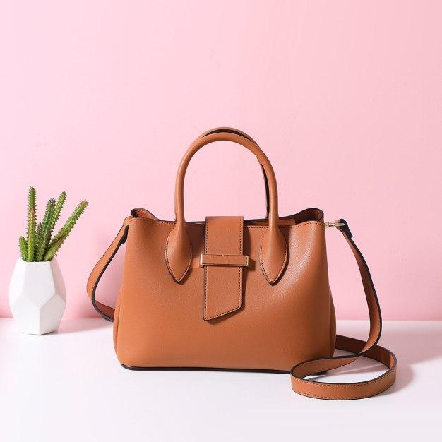 Brown Plain Pvc Bucket Bag Big Women's Tote