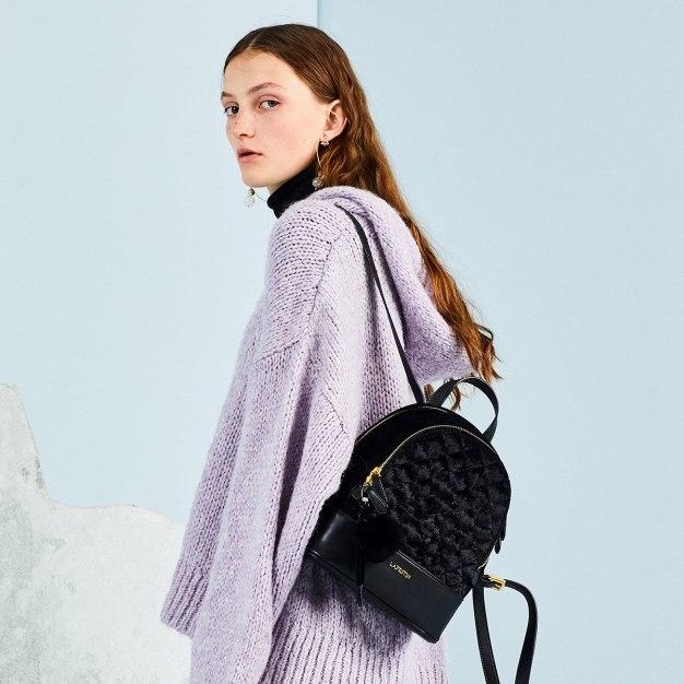 Black Medium Plain Women's Backpack