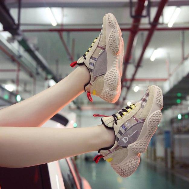Beige Round Head Middle Heel Anti Skidding Women's Sport Shoes