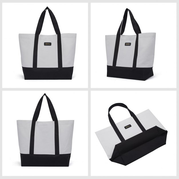 White Plain Canvas Tote Bag Big Women's Shoulder Bag