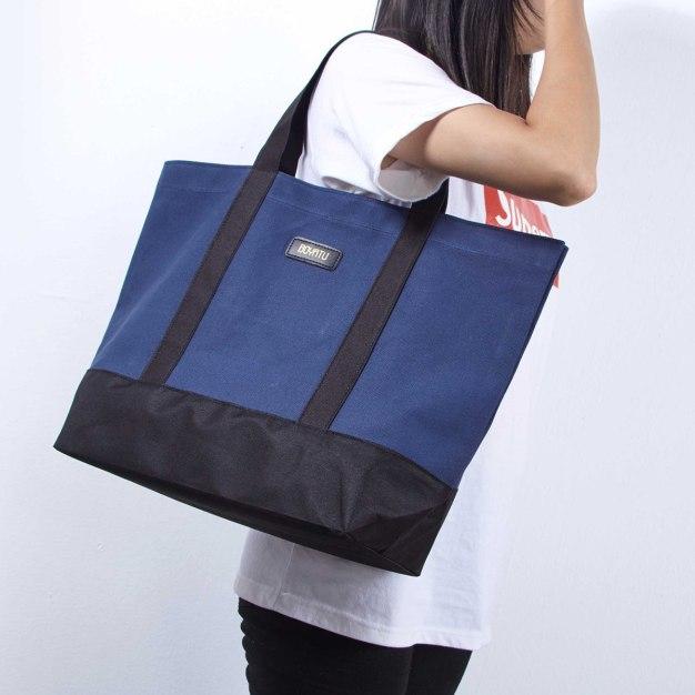 Blue Plain Canvas Tote Bag Big Women's Shoulder Bag
