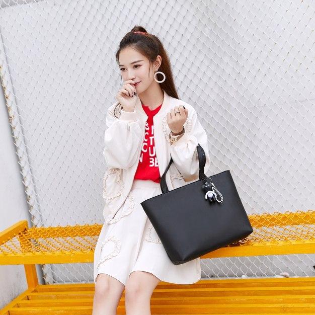 Black Plain Pvc Tote Bag Big Women's Shoulder Bag