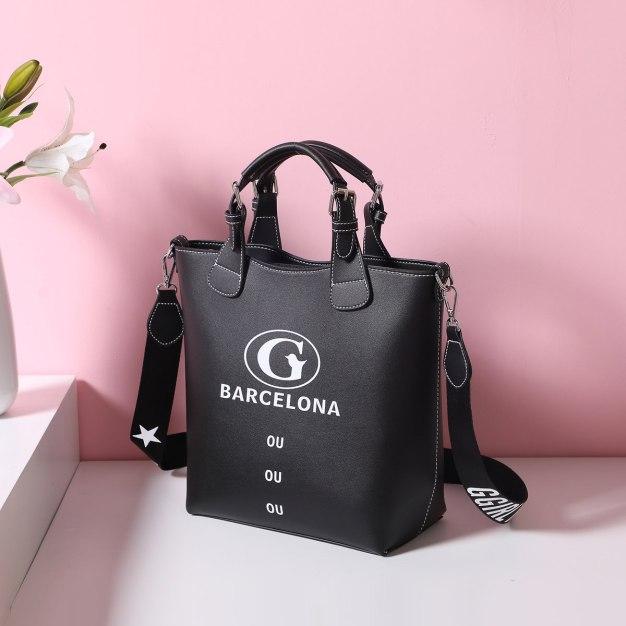 Black Pvc Bucket Bag Big Women's Tote
