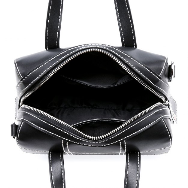 Black PU Boston Bag Small Women's Tote