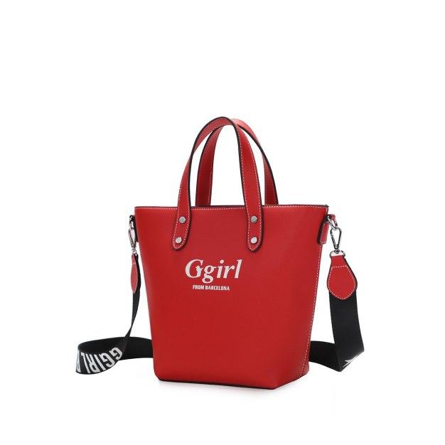 Red Pvc Bucket Bag Big Women's Tote
