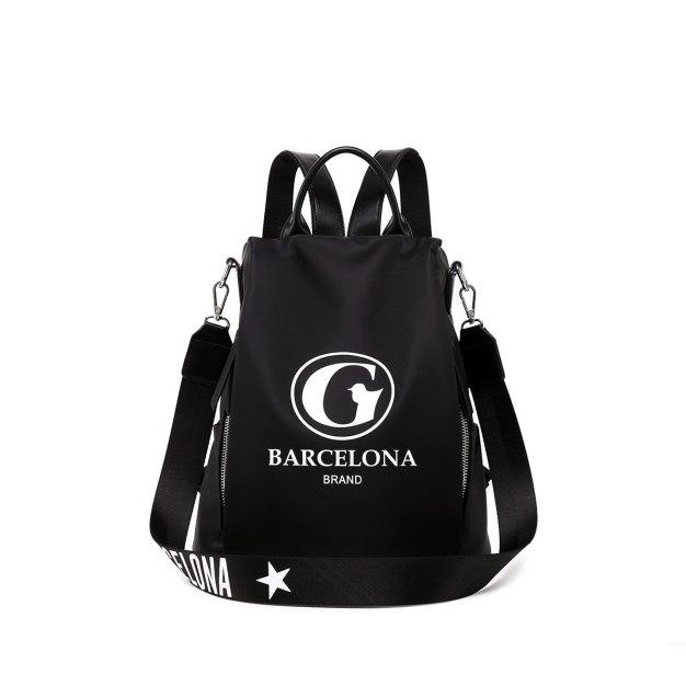 Black Oxford Cloth Big Women's Backpack