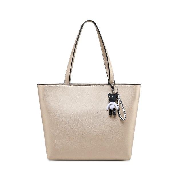 Yellow Plain Pvc Tote Bag Big Women's Shoulder Bag