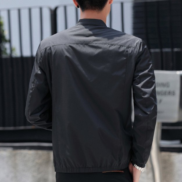 Black Stand Collar Long Sleeve Fitted Men's Jacket