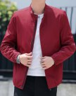 Red Stand Collar Long Sleeve Fitted Men's Jacket