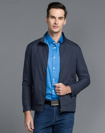 Stand Collar Long Sleeve Standard Men's Jacket