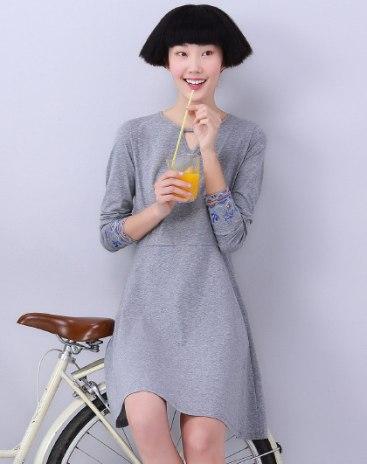 Gray Round Neck Long Sleeve 3/4 Length A Line Women's Dress