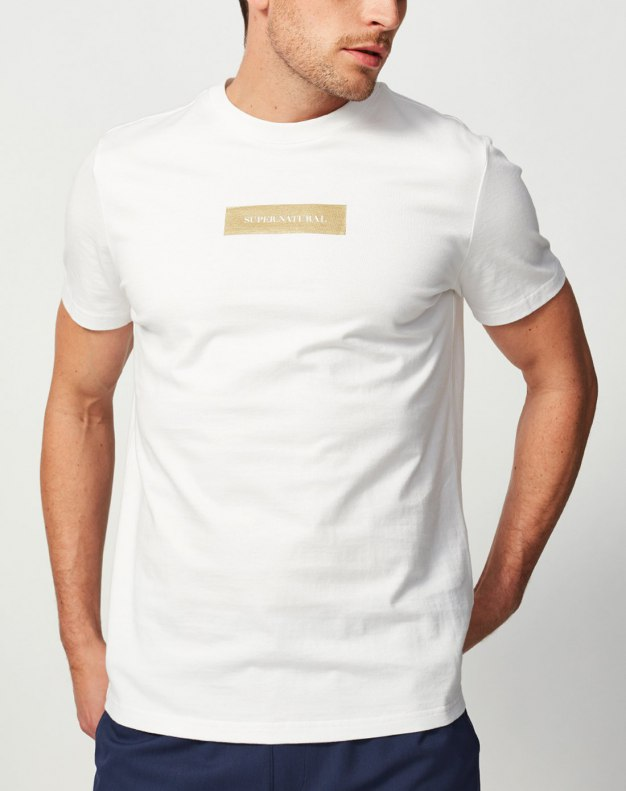 White Round Neck Short Sleeve Standard Men's T-Shirt