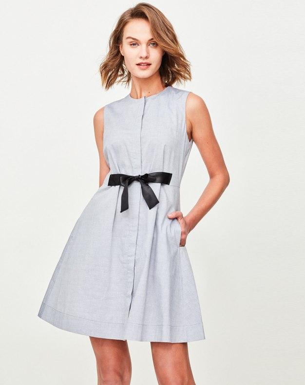 Blue Round Neck High Waist 3/4 Length A Line Women's Dress