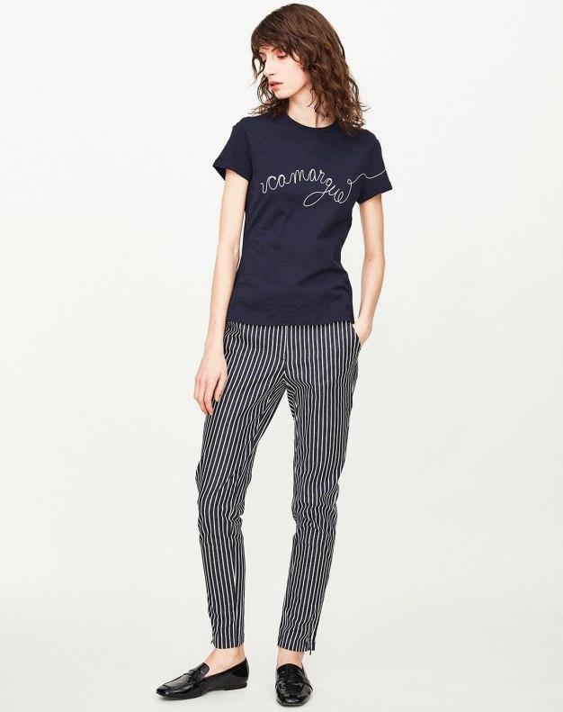 Indigo Round Neck Short Sleeve Fitted Women's T-Shirt