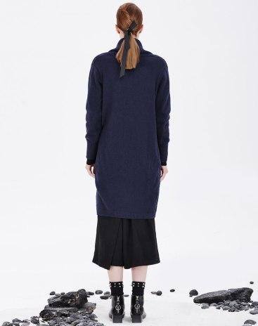 Blue Plain Lapel Long Sleeve Loose Women's Knitwear
