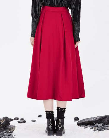 Red 3/4 Length Women's A Line Skirts