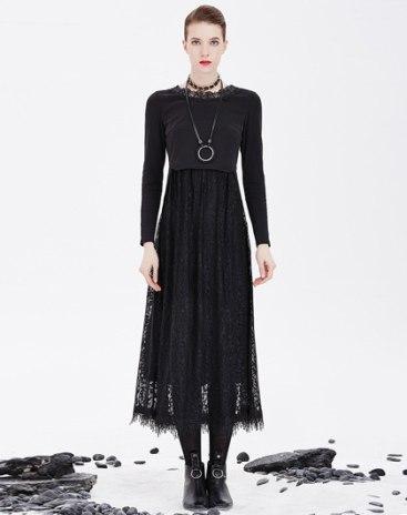 Black Round Neck High Waist 3/4 Length A Line Women's Dress