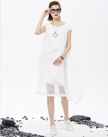 White Round Neck 3/4 Length Asymmetric Women's Dress
