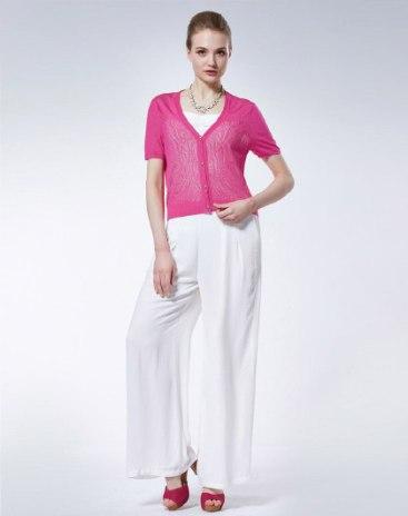 Red Plain V Neck Single Breasted Short Sleeve Women's Knitwear