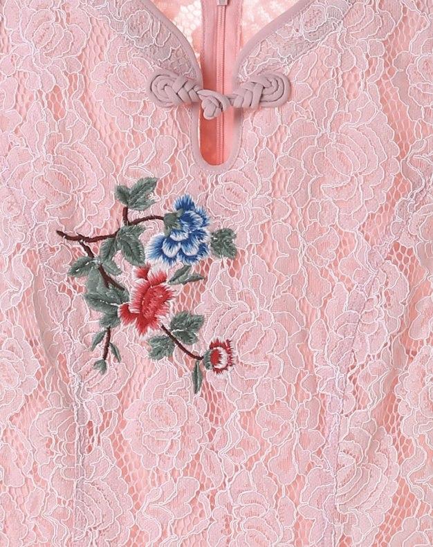 Pink Stand Collar Sleeve A Line Standard Women's Dress