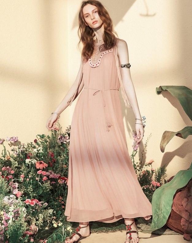Pink V Neck Sleeveless A Line Loose Women's Dress