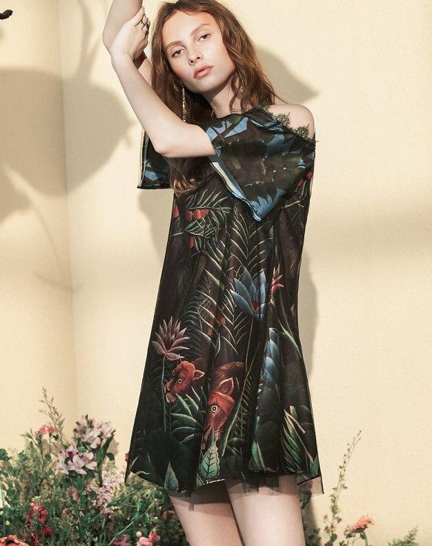 Colourful V Neck Short Sleeve A Line Loose Women's Dress