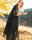 Black Round Neck 3/4 Sleeve Loose Women's Dress