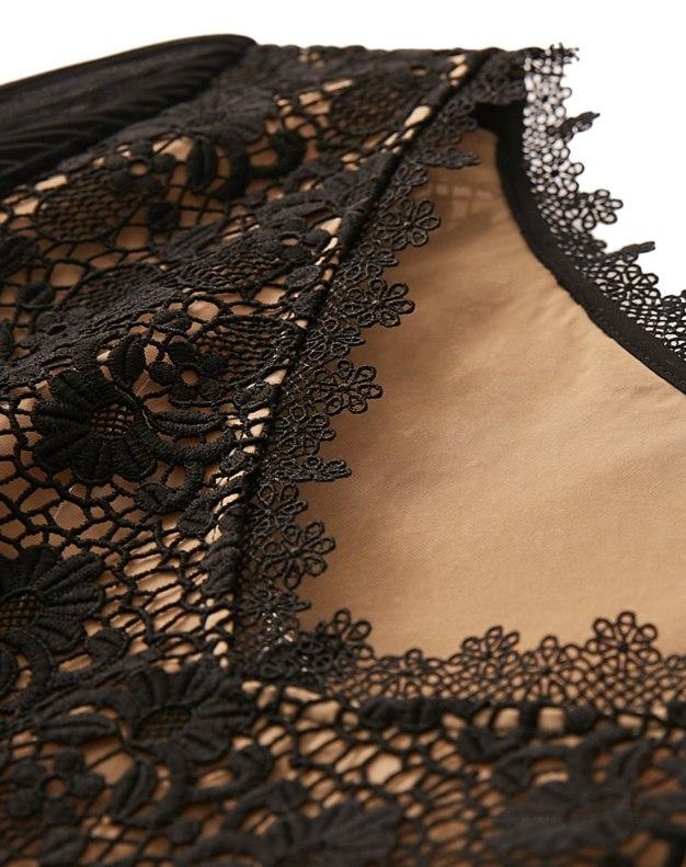 Black V Neck 3/4 Sleeve Fitted Women's Shirt