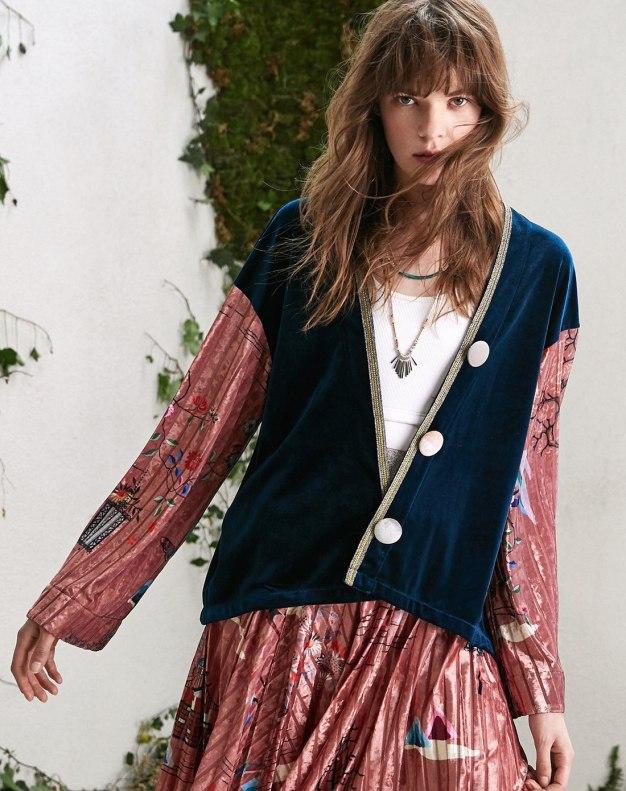Blue Floral V Neck Long Sleeve Women's Outerwear