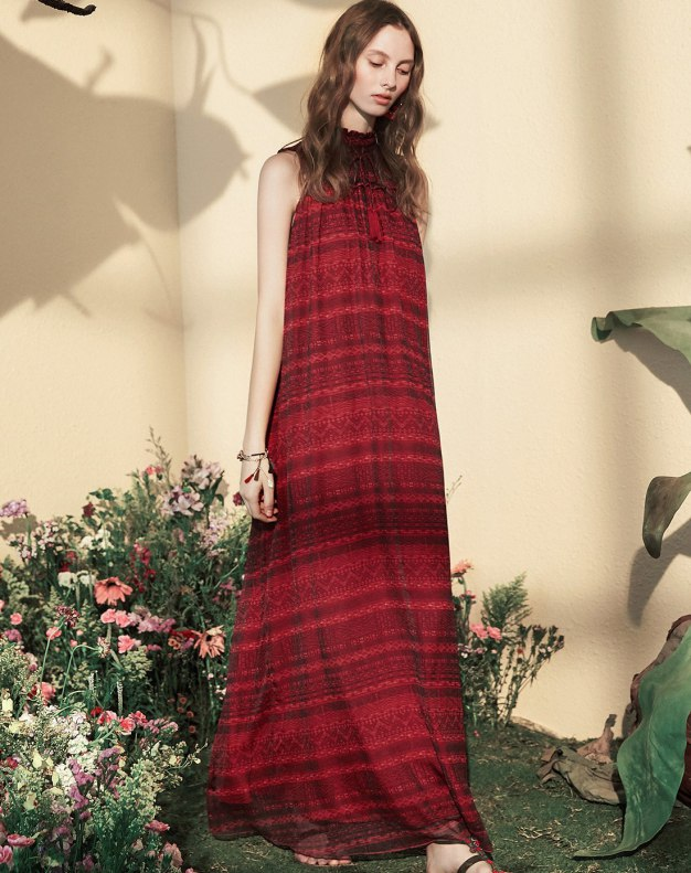 Red Stand Collar Sleeveless A Line Loose Women's Dress