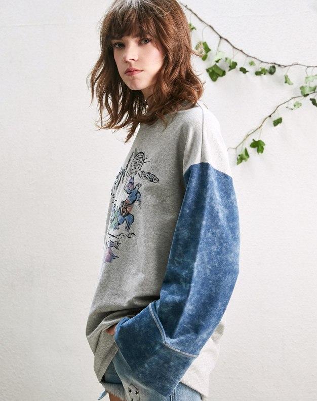 Blue Round Neck Elastic Long Sleeve Loose Women's Sweatshirt