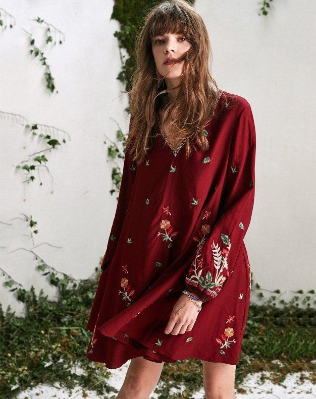 Red V Neck Long Sleeve 3/4 Length Peplum Loose Women's Dress