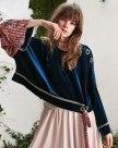 Blue Plain Round Neck Elastic Long Sleeve Women's Sweatshirt