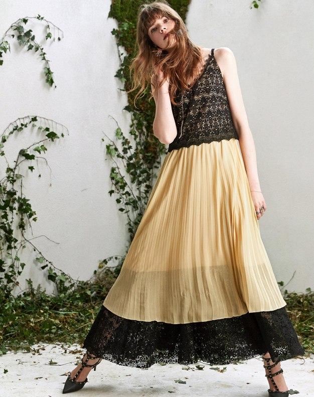 Yellow V Neck Sleeveless High Waist A Line Women's Dress