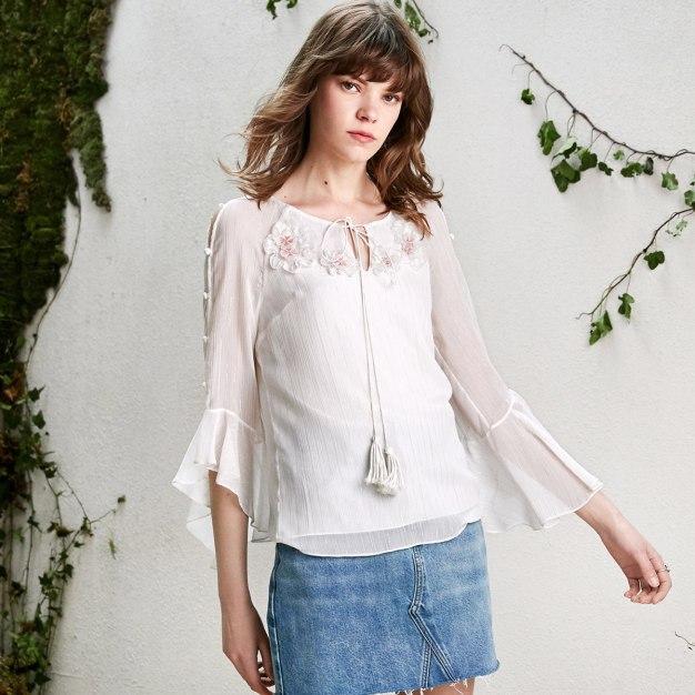 White Plain Round Neck Long Sleeve Loose Women's Shirt